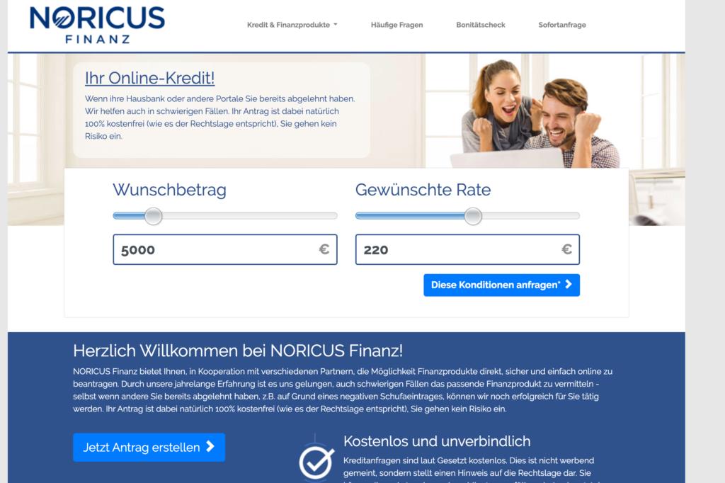 Screenshot Noricus Finanz Webseite