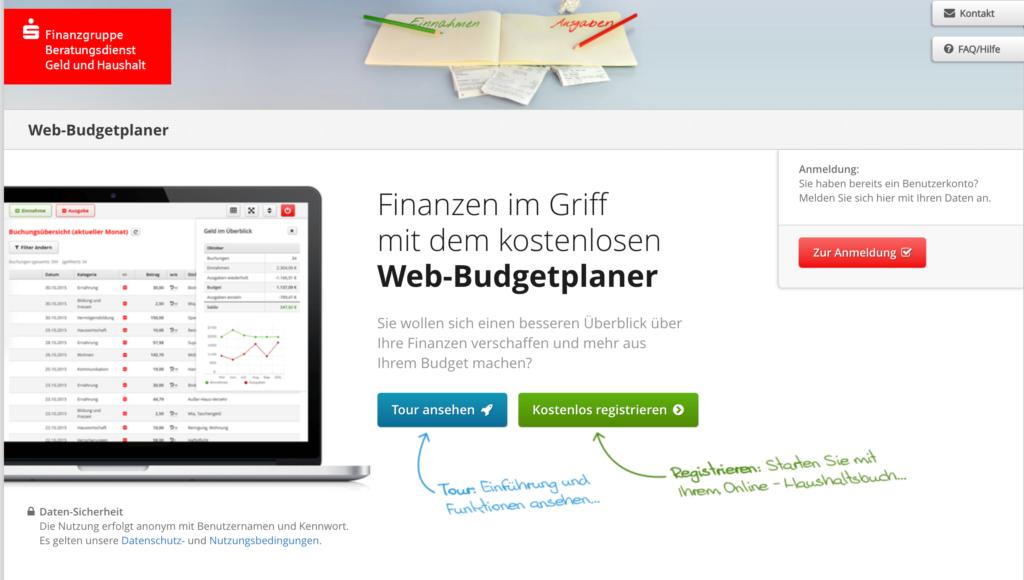 Screenshot Web-Budgetplaner Haushaltsbuch der Sparkasse