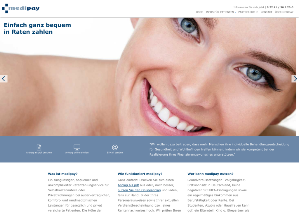Screenshot der Webseite von Medipay.de