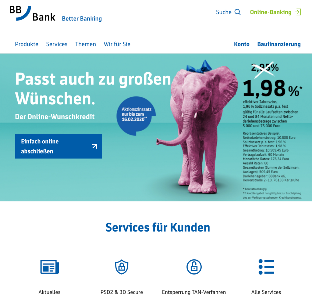 Screenshot der BBBank Webseite