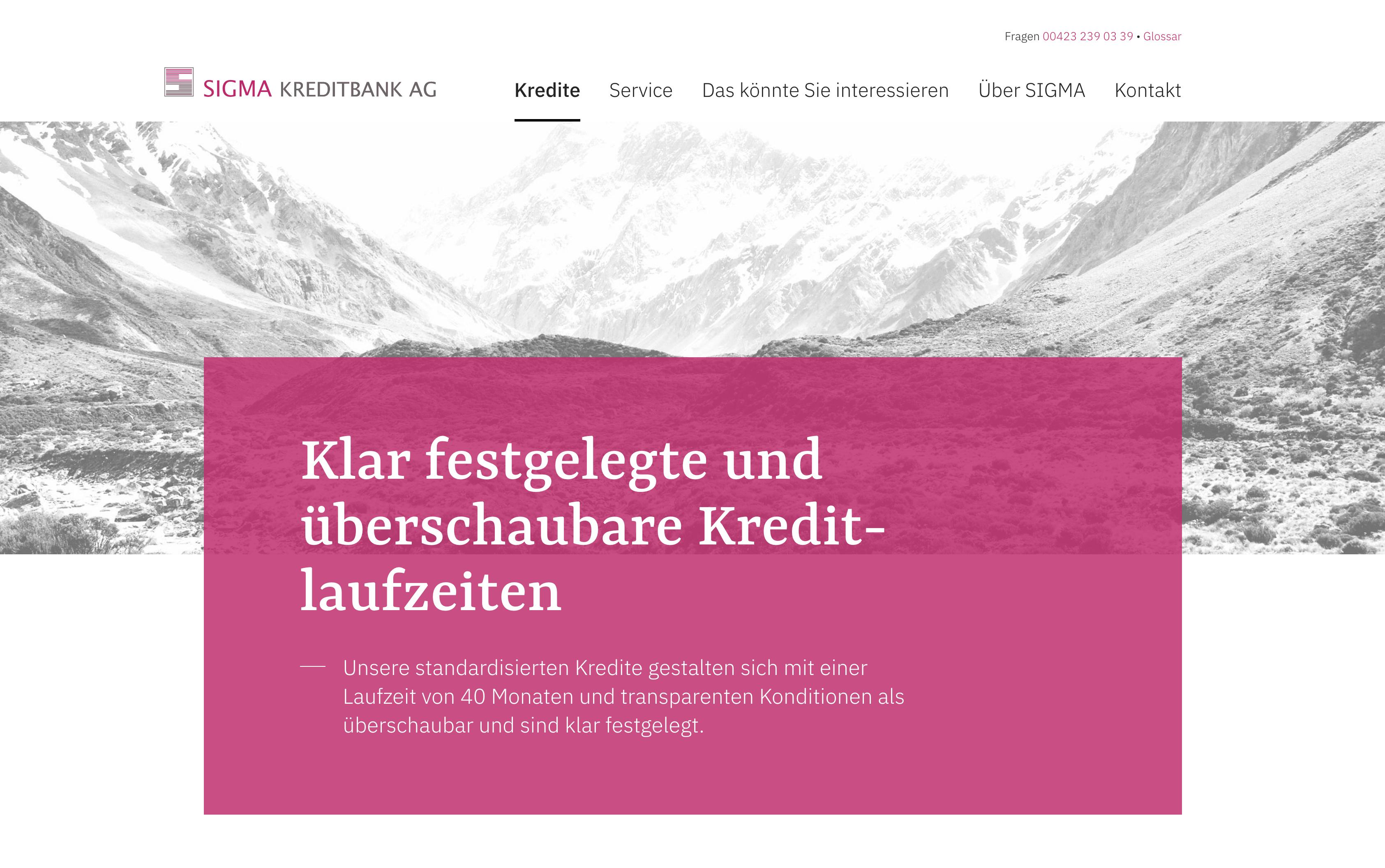 Screenshot der Webseite der Sigma Kreditbank