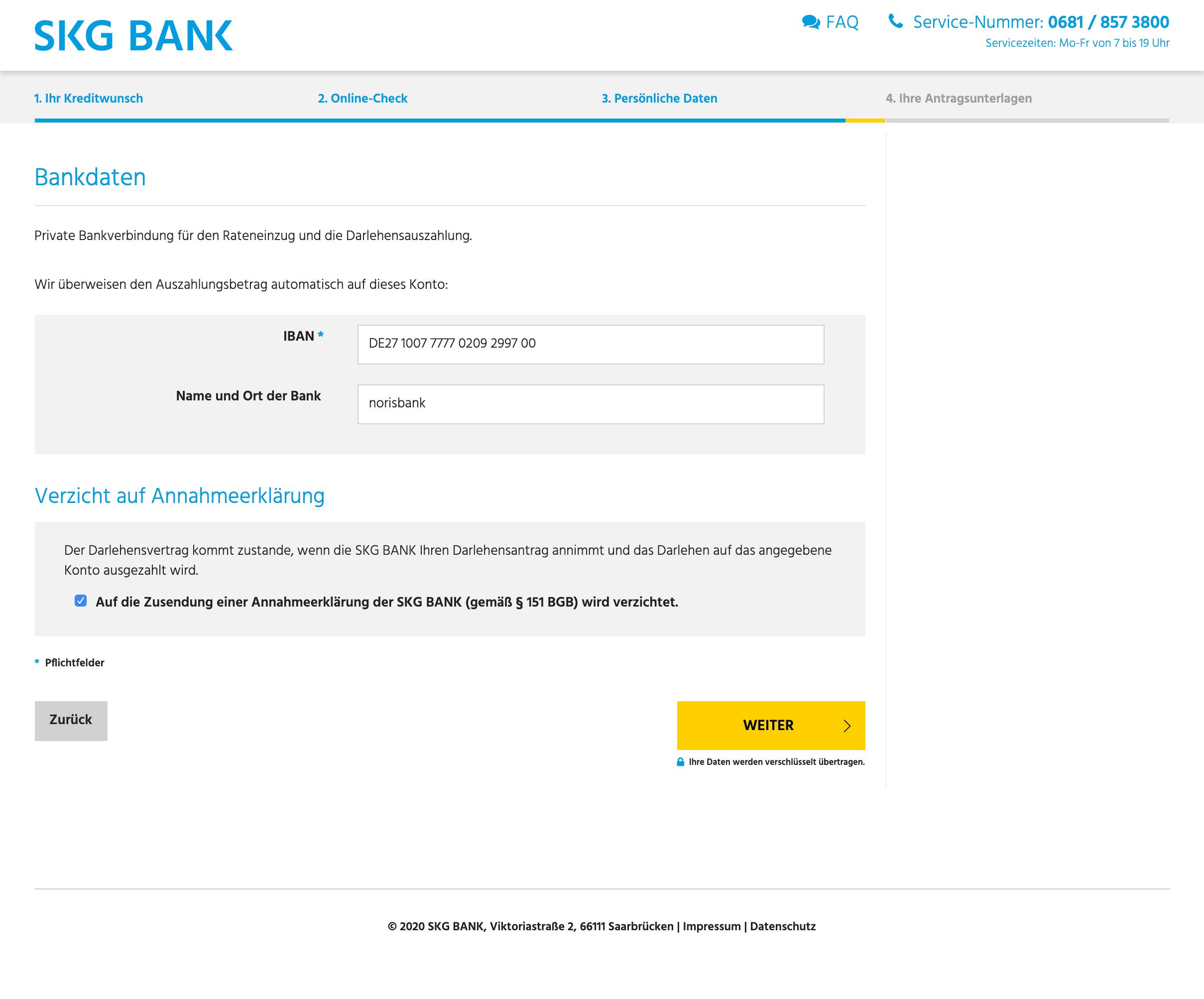 Zuletzt wird die Kontonummer für die Überweisung des Kredit benötigt