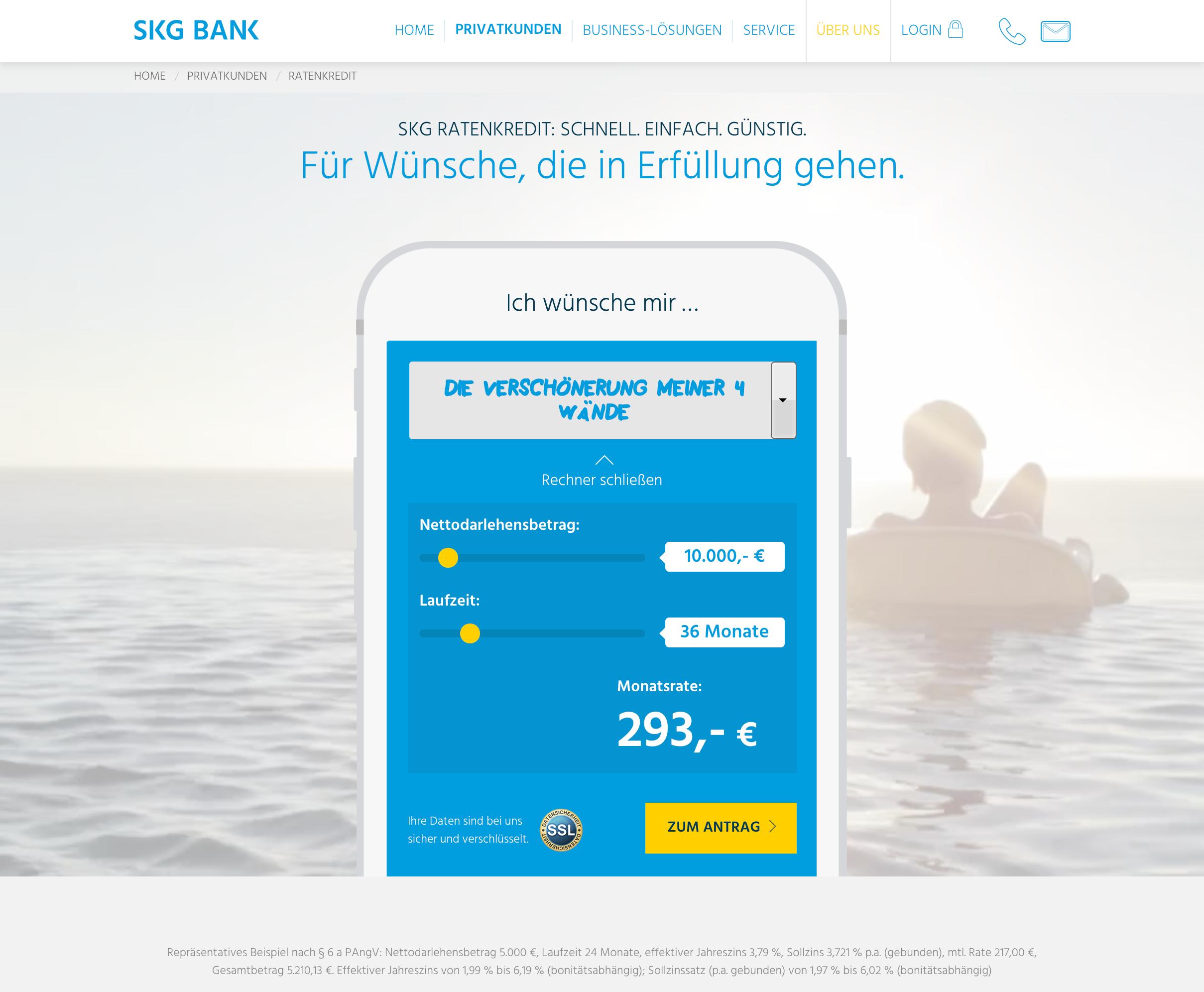Start der Kreditanfrage auf www.skgbank.de