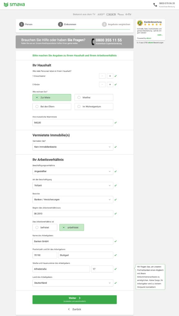Screenshot der Kreditanfrage auf Smava. Angaben zum Arbeitsverhältnis.