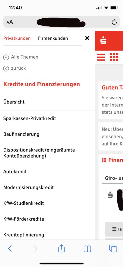 Sparkasse Kredit per Klick Smartphone Screenshot Webseite Bild 3