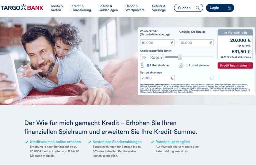 Screenshot der Targobank Webseite zum Kredit aufstocken.