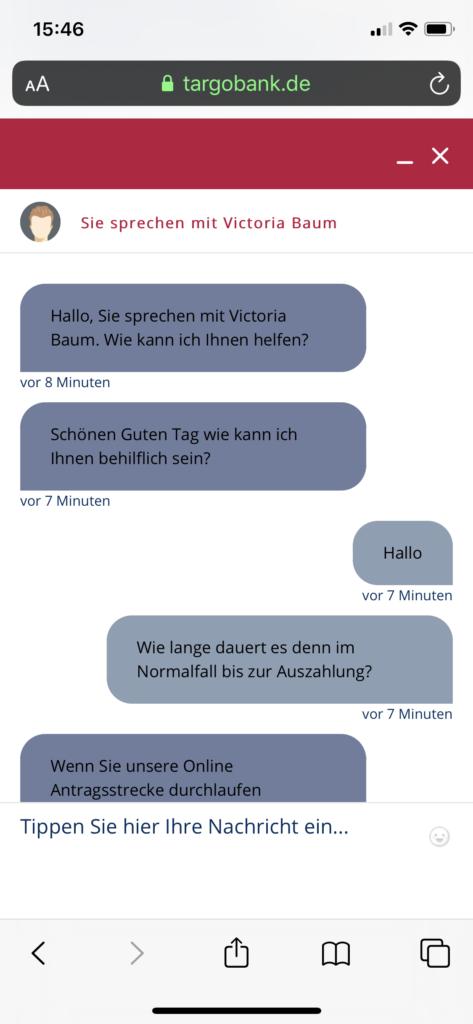 Targobank Kredit Bearbeitungsdauer, Screenshot 1