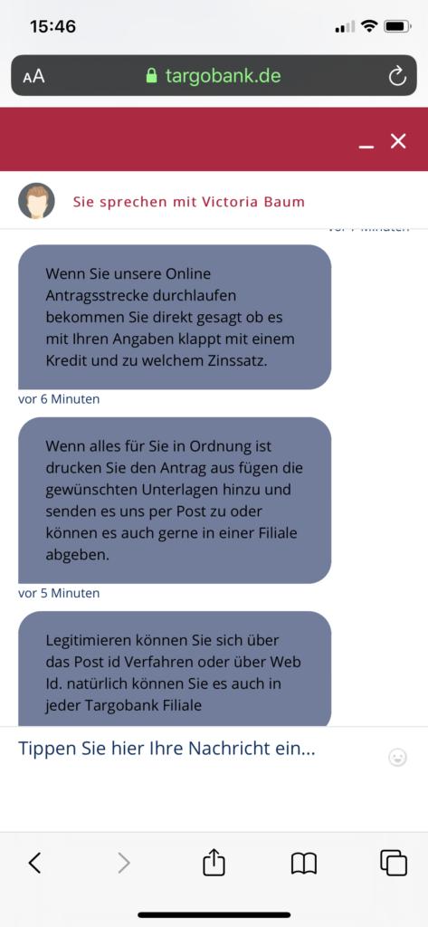 Targobank Kredit Bearbeitungsdauer, Screenshot 2