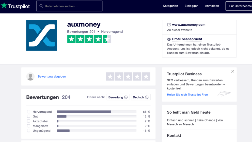 Gute Bewertungen von Auxmoney auf Trustpilot