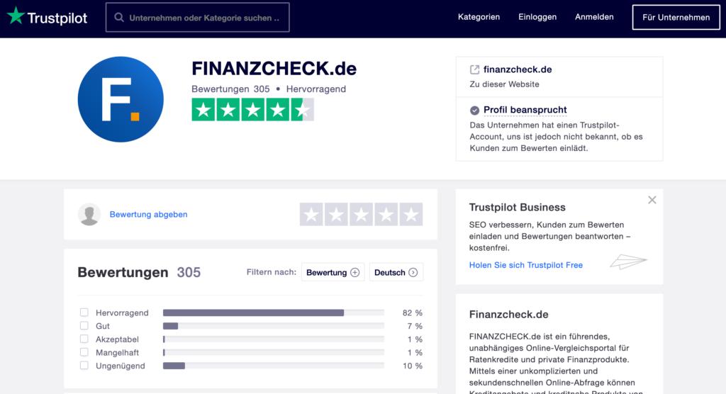 Kundenerfahrungen über Finanzcheck bei Trustpilot
