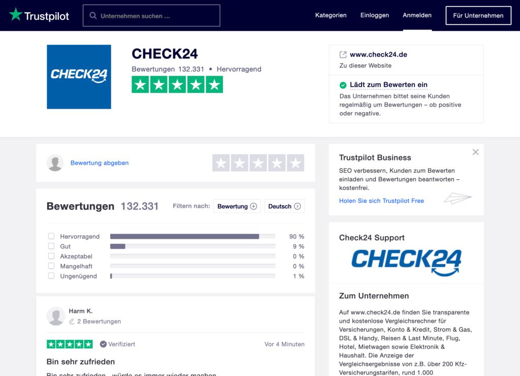 Trustpilot Bewertungen von Check24 mit 4.8 von 5 Punkten