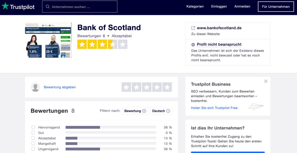 Die Erfahrungen von Kunden auf Trustpilot der Bank of Scotland