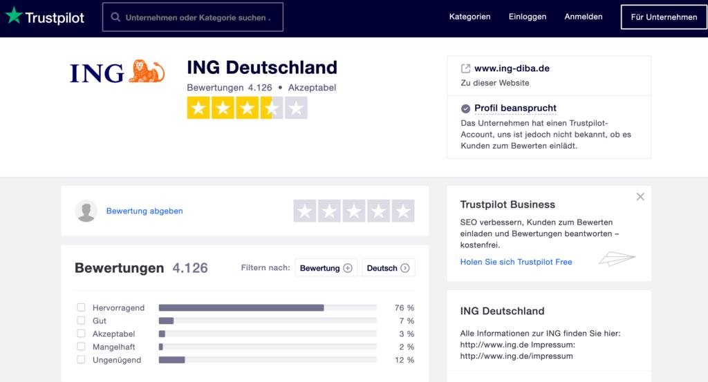 Trustpilot Kundenerfahrungen zur ING