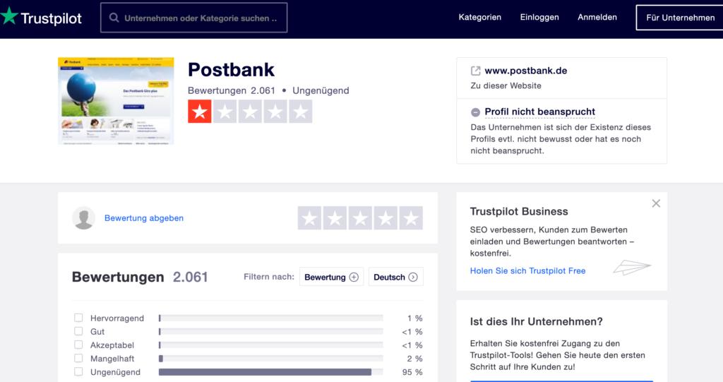 Postbank Erfahrungen auf Trustpilot