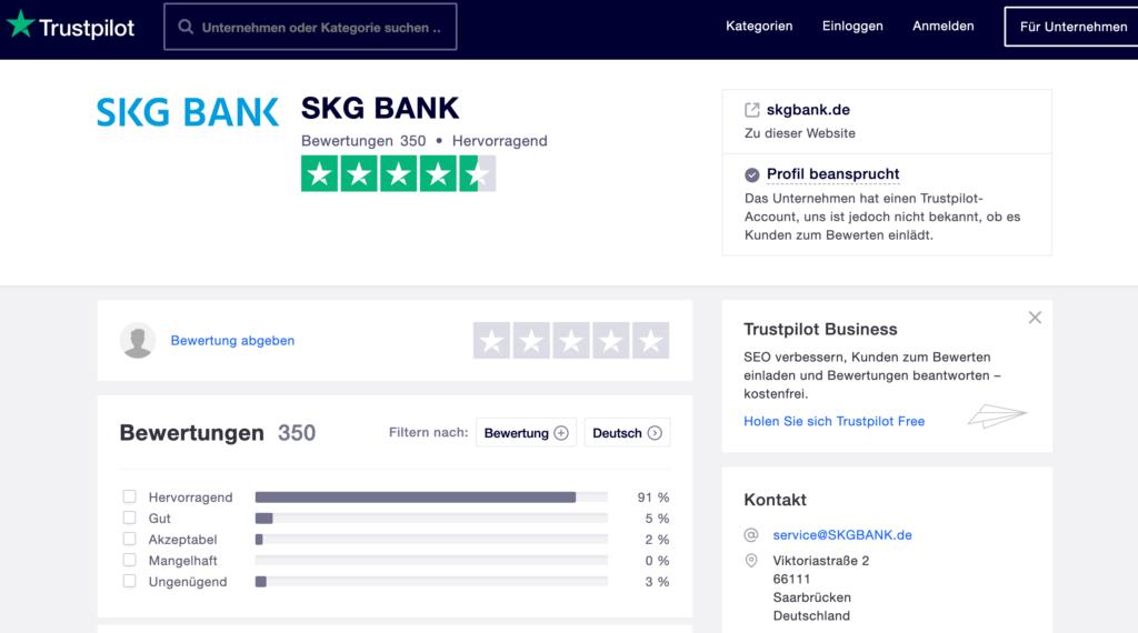 Erfahrungen auf Trustpilot der SKG Bank