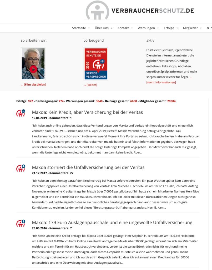 Maxda Erfahrung zur Genehmigung auf Verbraucherschutz.de
