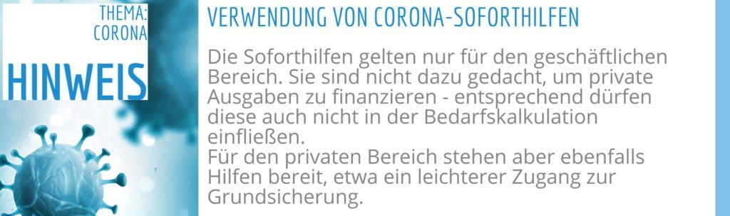 Die Corona Soforthilfe darf nur für geschäftliche Zwecke verwendet werden.
